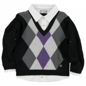 Boys Black Argyle Jumper with Mock Shirt