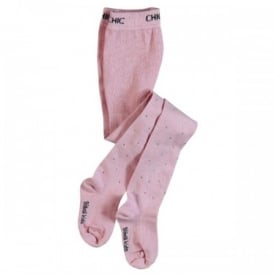 Girls Tights - Pink with Silver Crystals