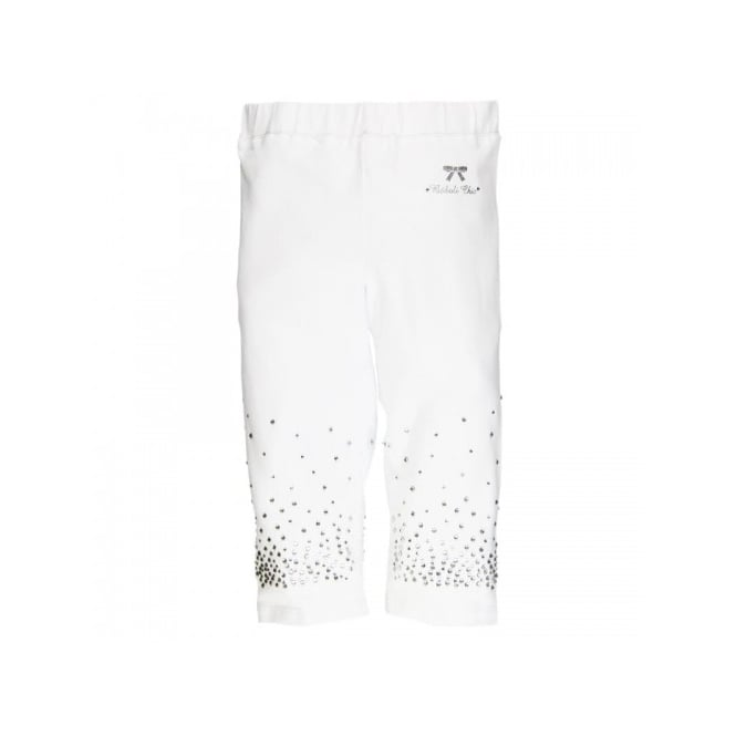 Boboli Girls White Diamante Cropped Legging