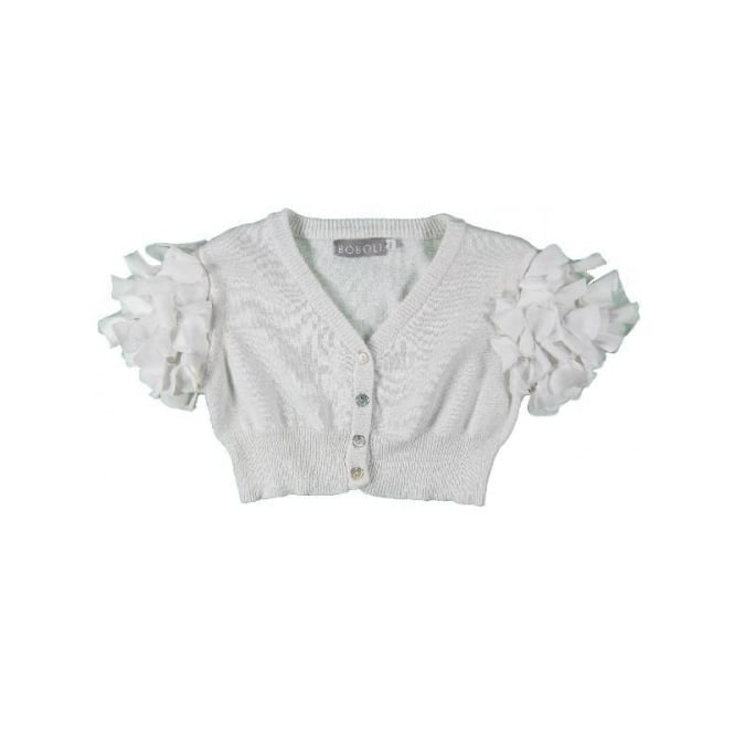 Boboli Girls White Petal Sleeve Bolero
