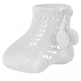 Ankle Length Pom Pom Socks in White