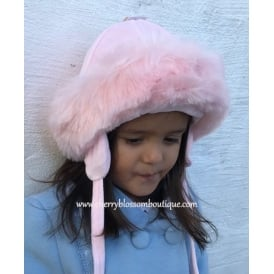 Baby Girl Fur Trim Hat in Pink