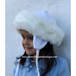 Baby Girl Fur Trim Hat in White