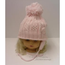 Baby Girl Knitted Crochet Hat in White and Pink