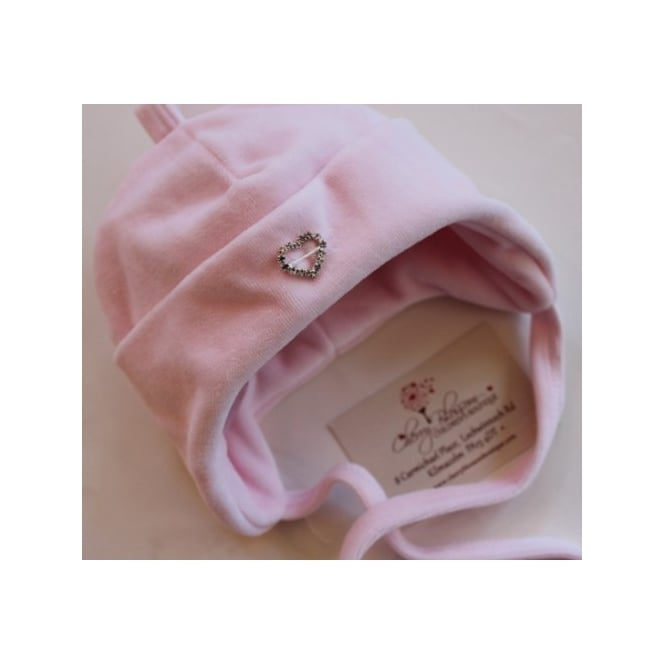Boutique Baby Girl Pink Velour Hat with Diamante Heart