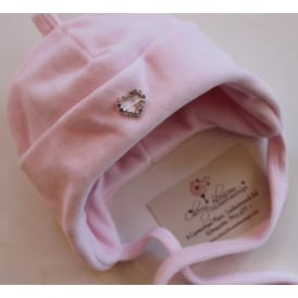 Baby Girl Pink Velour Hat with Diamante Heart