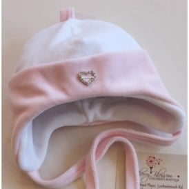 Baby Girl White with Pink Velour Hat with Diamante Heart