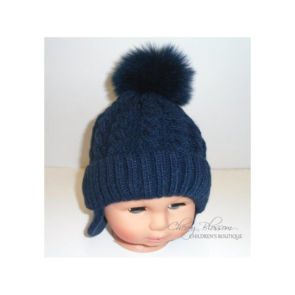 Boys Large Cable Stitch Pattern Hat with Fur Pom - White ab5cfcd88ddb