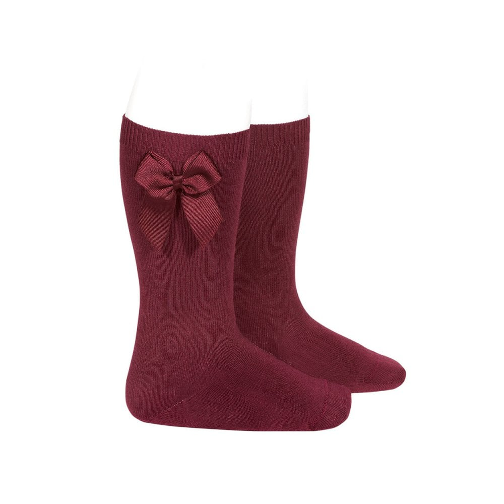 great discount bottom price 50% off Knee High Bow Sock Burgundy