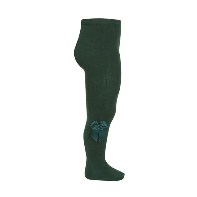 Condor Velvet Bow Tights Bottle Green