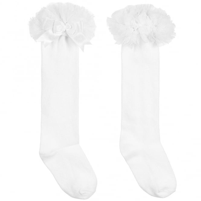 Couche Tot Girls Frill Tutu Cotton Socks in White