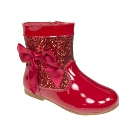 Girls Red Glitter Patent Bow Boots
