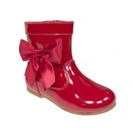 Girls Red Patent Bow Boots