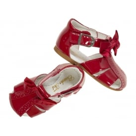 Girls Red Patent Bow Sandals