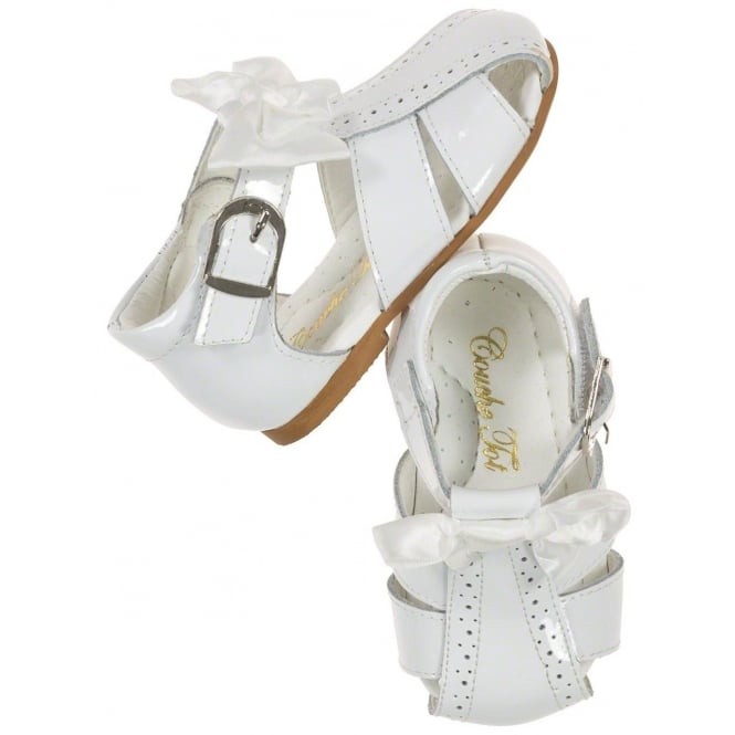 Couche Tot Girls White Patent Bow Sandals