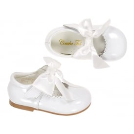 Girls White Patent Bow Shoes