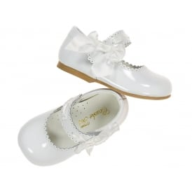 Girls White Patent Side Bow Shoes