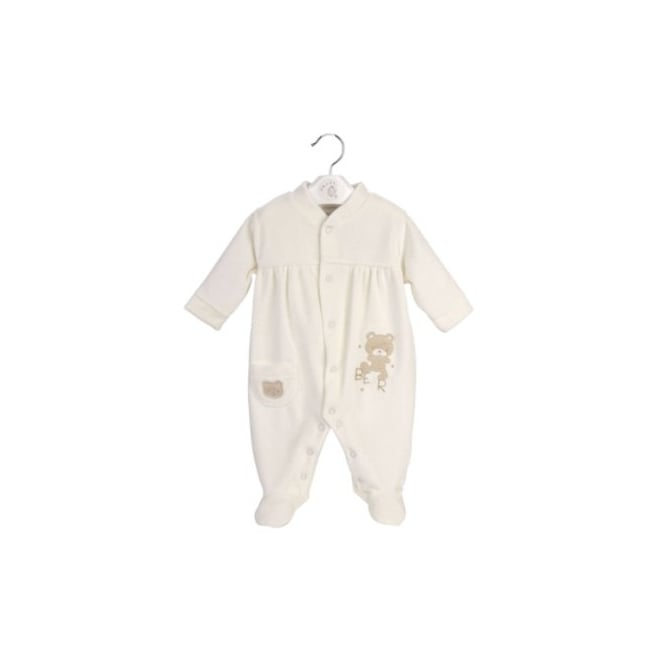 Dandelion & Kinder Baby Bear Cream Velour Sleepsuit