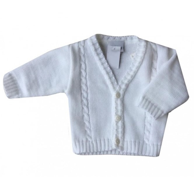 Baby Toddler Boys White Cable Knit Cardigan
