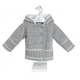 Baby Cable Stitch Knitted Pram Jacket in Grey