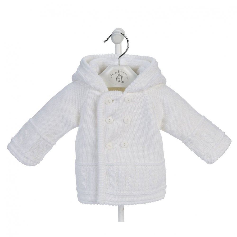 93cee2c6c Dandelion-Knitted-Baby-Pram-Jacket-in-White