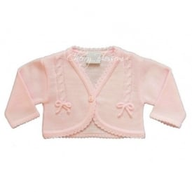 Baby Girl Knitted Bolero in Pink with Bows