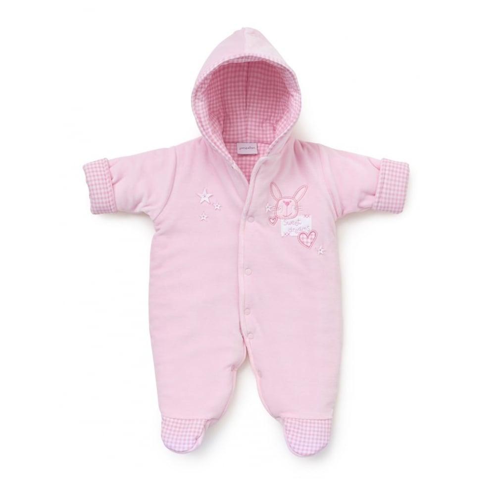f18691f44 Baby-Girl-Pink-Sweet-Dreams-Padded-Pramsuit