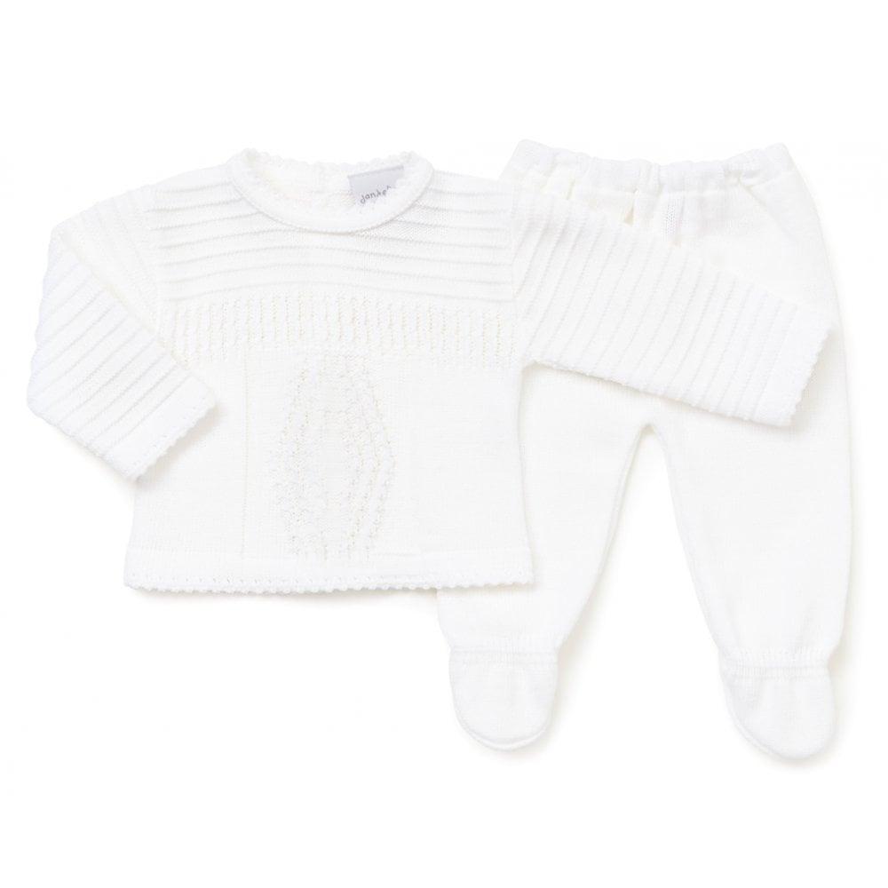 Dandelion & Kinder Baby White Knitted Leggings and Jumper Set