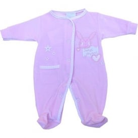 Premature Baby Girl Pink Velour Sleepsuit