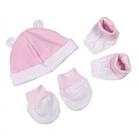 Premature Baby Hat, Booties and Mittens in Pink