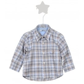 Mini Boy Blue and Beige Check Shirt