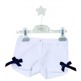 Mini Girl White Shorts with Navy Bows