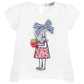 Mini Girl White with Navy and Red T-shirt