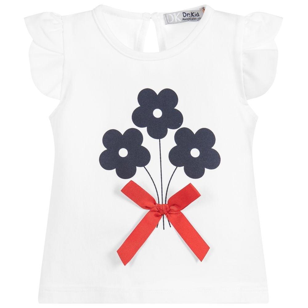 978b6b9d Mini Girl White with Navy Flowers T-shirt