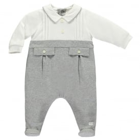 Boys Grey and White Smart Babygrow