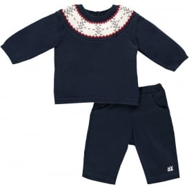Boys Lars Trousers and Sweater Jumper in Navy