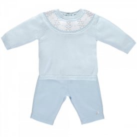 Boys Lars Trousers and Sweater Jumper in Pale Blue