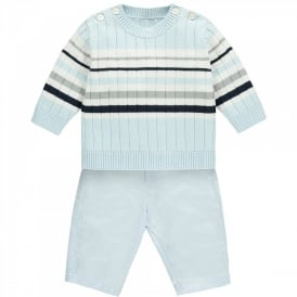 Boys Matt Stripe Jumper and Trouser Set