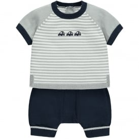 Boys Matthew Navy Stripe Top and Shorts Set