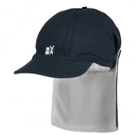 Boys Navy Sun Cap with Detachable Flap