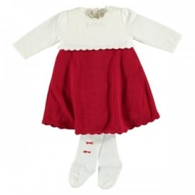 Girls Janais Red Knit Dress
