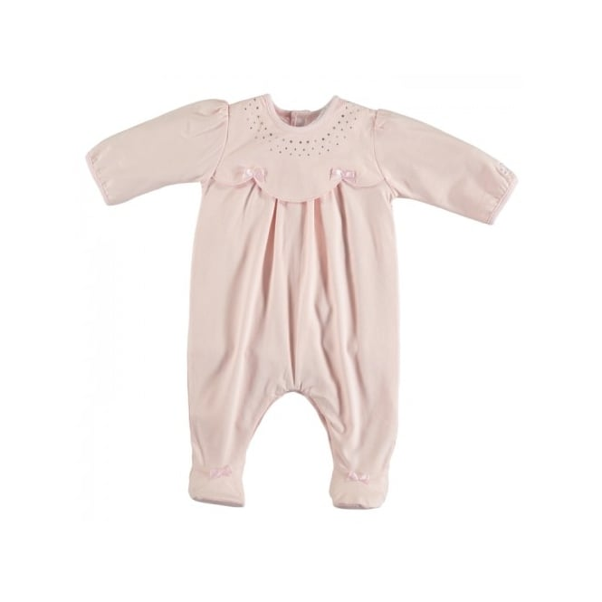 Emile et Rose Girls Janis Diamante Neckline All in One Pale Pink Suit