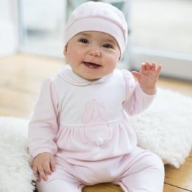 Girls Lily Rose Bunny Pretty Babygrow & Hat