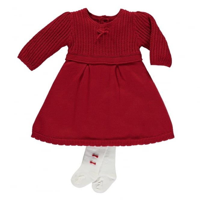 Emile et Rose Girls Loralie Red Knitted Dress and Tights