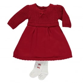 Girls Loralie Red Knitted Dress and Tights