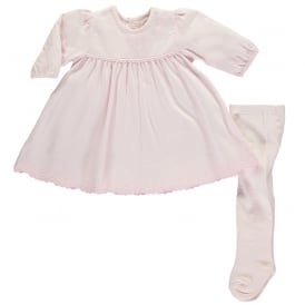 Girls Lynn Pale Pink Dress and Tights