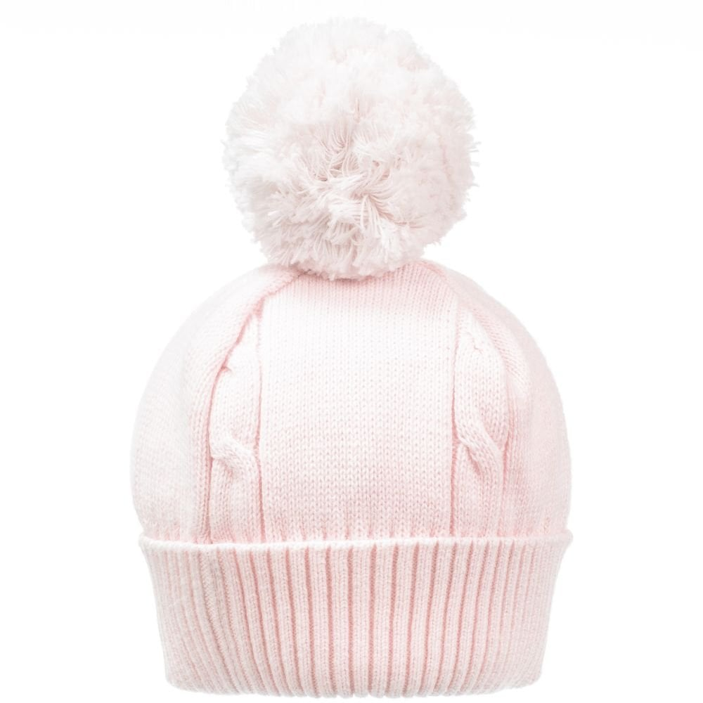 521675128 Girls Pale Pink Knit Pom Pom Hat