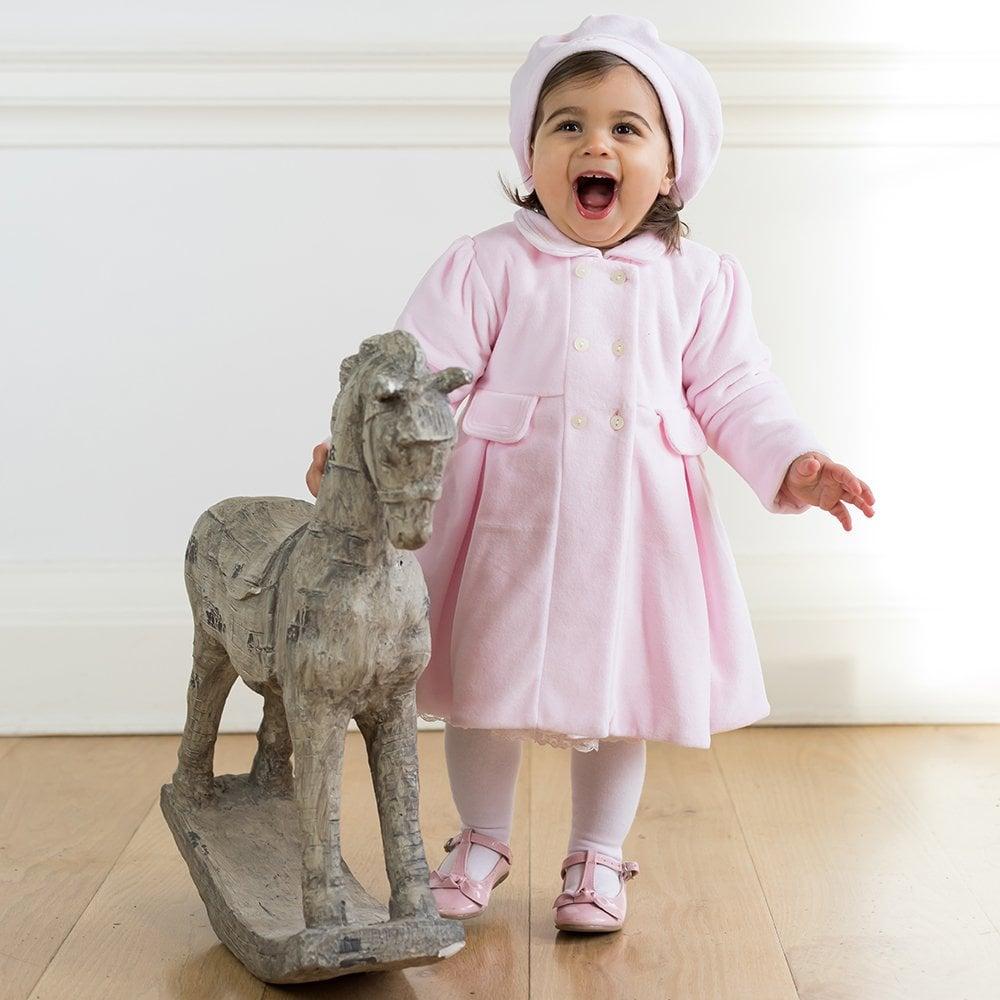 Emile Et Rose Girls Rosanna Pale Pink Velour Coat And Beret