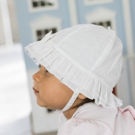 Girls Sun Hat in White with Frilled Brim df5f4cf7c9b4