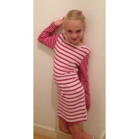 Girls Pink and White Stripe Dress